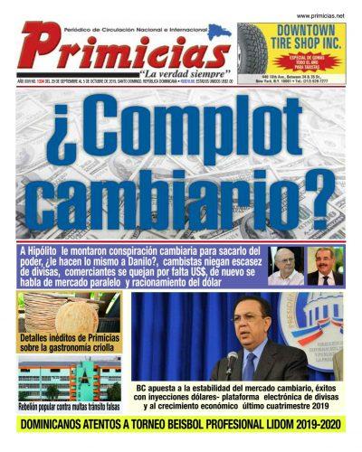 Portada Periódico Primicias, Lunes 30 de Septiembre, 2019