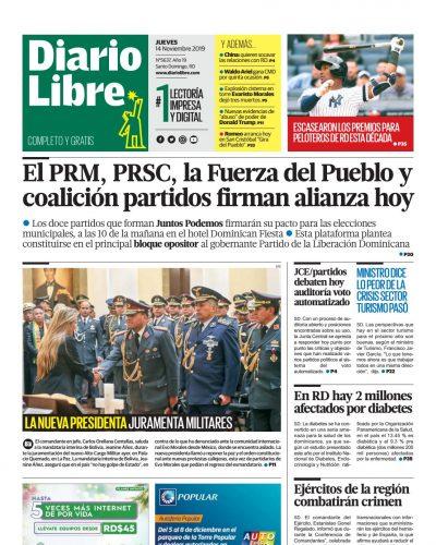 Portada Periódico Diario Libre, Jueves 14 de Noviembre, 2019