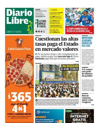 Portada Periódico Diario Libre, Jueves 21 de Noviembre, 2019