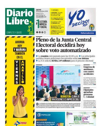 Portada Periódico Diario Libre, Jueves 28 de Noviembre, 2019