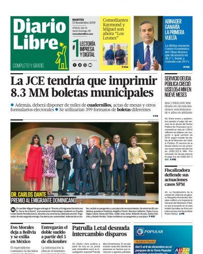 Portada Periódico Diario Libre, Martes 12 de Noviembre, 2019