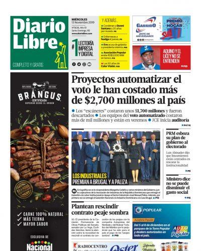 Portada Periódico Diario Libre, Miércoles 13 de Noviembre, 2019