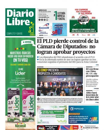 Portada Periódico Diario Libre, Miércoles 20 de Noviembre, 2019