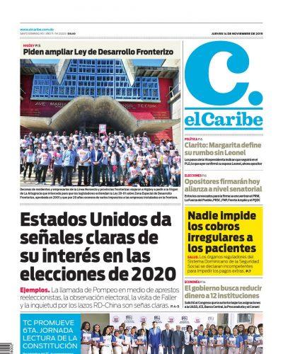 Portada Periódico El Caribe, Jueves 14 de Noviembre, 2019