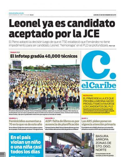 Portada Periódico El Caribe, Jueves 21 de Noviembre, 2019