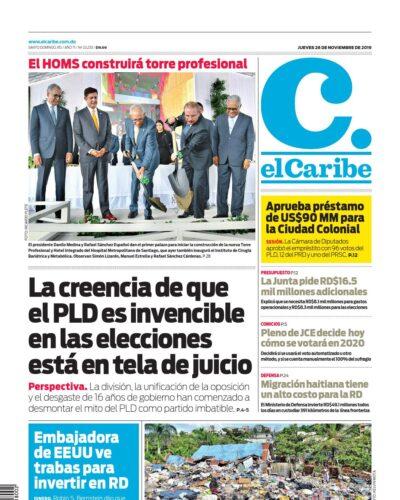 Portada Periódico El Caribe, Jueves 28 de Noviembre, 2019