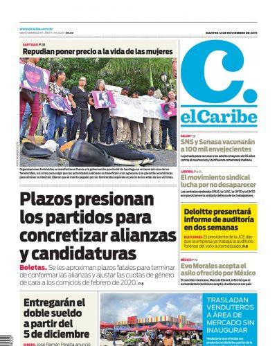 Portada Periódico El Caribe, Martes 12 de Noviembre, 2019