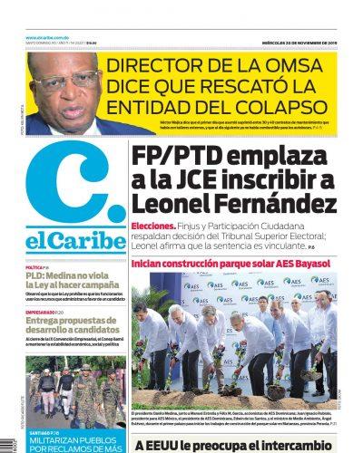 Portada Periódico El Caribe, Miércoles 20 de Noviembre, 2019