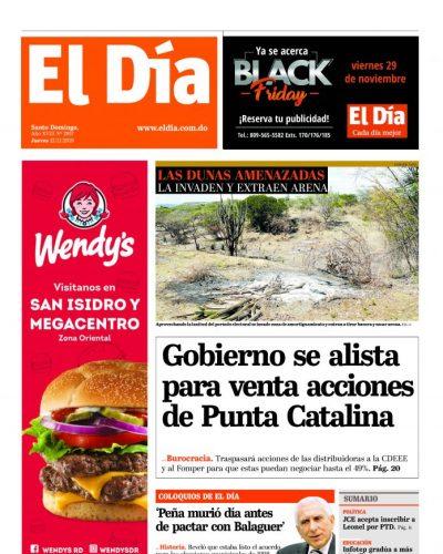 Portada Periódico El Día, Jueves 21 de Noviembre, 2019