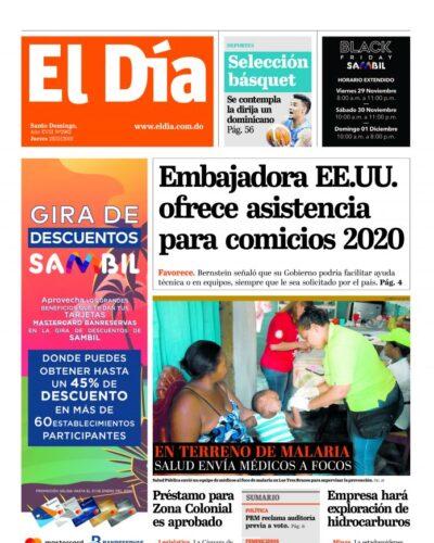 Portada Periódico El Día, Jueves 28 de Noviembre, 2019