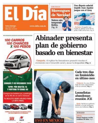 Portada Periódico El Día, Miércoles 13 de Noviembre, 2019