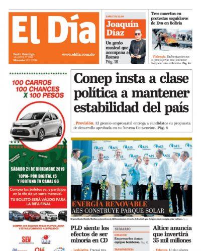 Portada Periódico El Día, Miércoles 20 de Noviembre, 2019