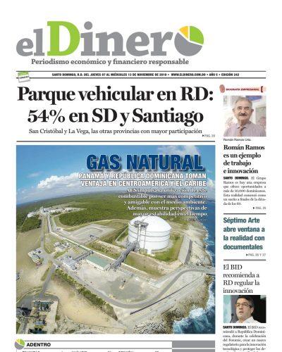 Portada Periódico El Dinero, Jueves 07 de Noviembre, 2019