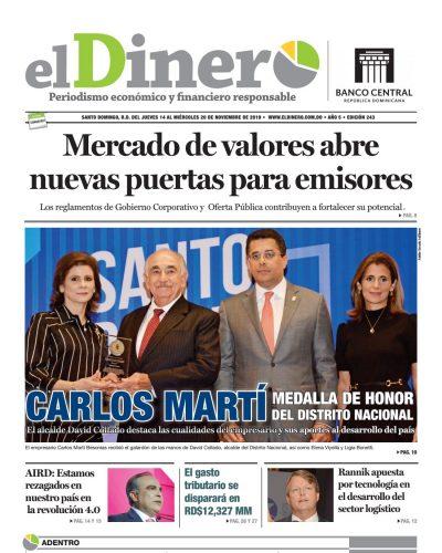 Portada Periódico El Dinero, Jueves 14 de Noviembre, 2019
