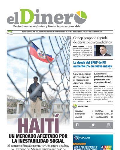 Portada Periódico El Dinero, Jueves 21 de Noviembre, 2019