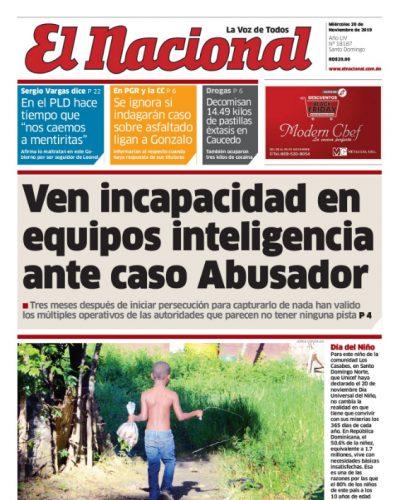 Portada Periódico El Nacional, Jueves 20 de Noviembre, 2019