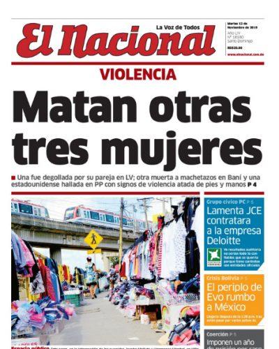 Portada Periódico El Nacional, Martes 12 de Noviembre, 2019