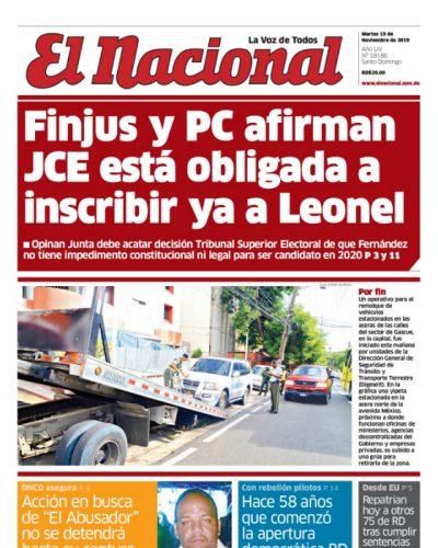 Portada Periódico El Nacional, Martes 19 de Noviembre, 2019