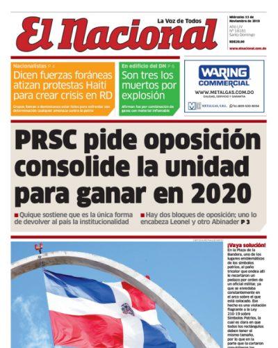 Portada Periódico El Día, Jueves 14 de Noviembre, 2019