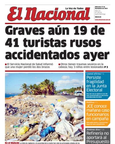 Portada Periódico El Nacional, Miércoles 27 de Noviembre, 2019