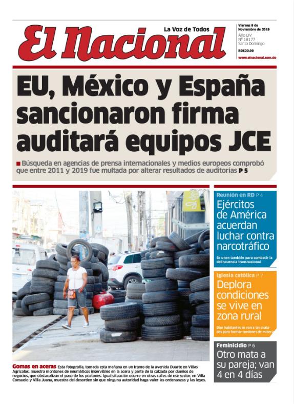 Portada Periodico El Nacional Viernes 08 De Noviembre 2019 Dominicana Do