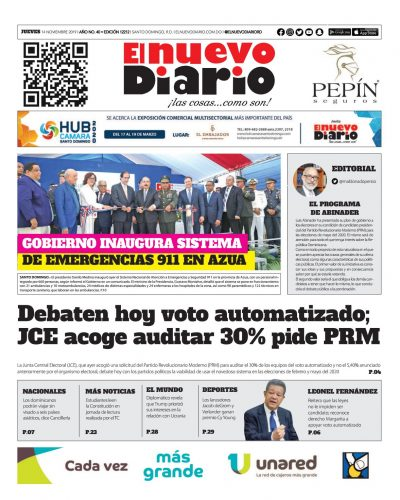 Portada Periódico El Nuevo Diario, Jueves 14 de Noviembre, 2019