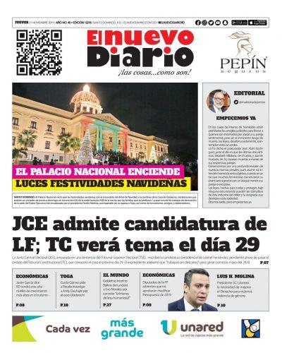 Portada Periódico El Nuevo Diario, Jueves 21 de Noviembre, 2019