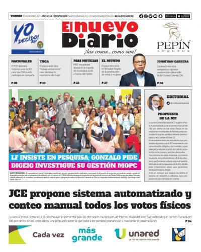 Portada Periódico El Nuevo Diario, Jueves 22 de Noviembre, 2019
