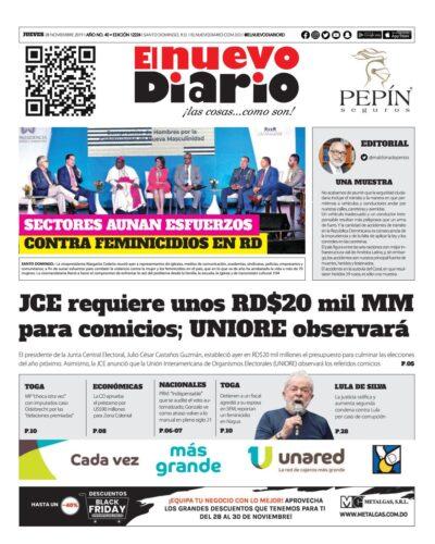 Portada Periódico El Nuevo Diario, Jueves 28 de Noviembre, 2019