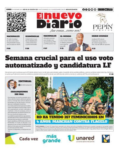 Portada Periódico El Nuevo Diario, Lunes 25 de Noviembre, 2019