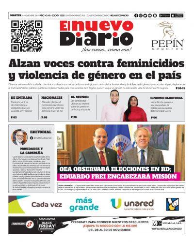 Portada Periódico El Nuevo Diario, Martes 26 de Noviembre, 2019