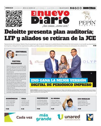Portada Periódico El Nuevo Diario, Miércoles 13 de Noviembre, 2019