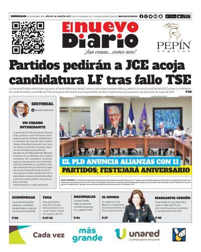 Portada Periódico El Nuevo Diario, Miércoles 20 de Noviembre, 2019