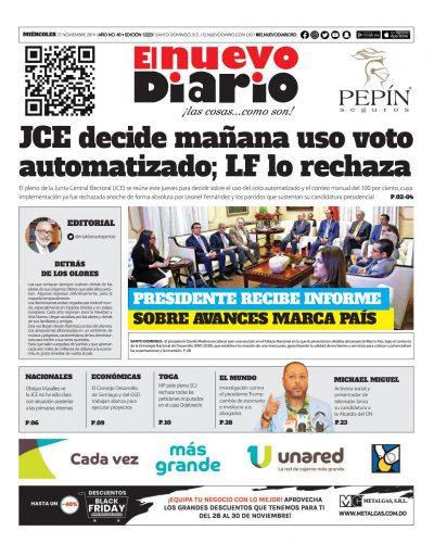 Portada Periódico El Nuevo Diario, Miércoles 27 de Noviembre, 2019