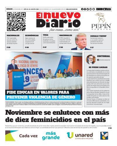 Portada Periódico El Nuevo Diario, Sábado 23 de Noviembre, 2019