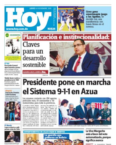 Portada Periódico Hoy, Jueves 14 de Noviembre, 2019