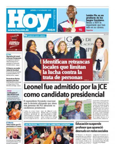 Portada Periódico Hoy, Jueves 21 de Noviembre, 2019