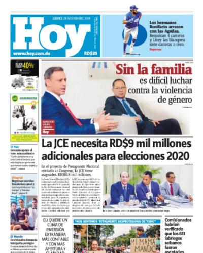 Portada Periódico Hoy, Jueves 28 de Noviembre, 2019