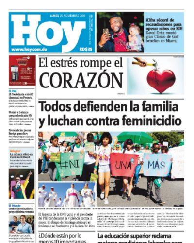 Portada Periódico Hoy, Lunes 25 de Noviembre, 2019
