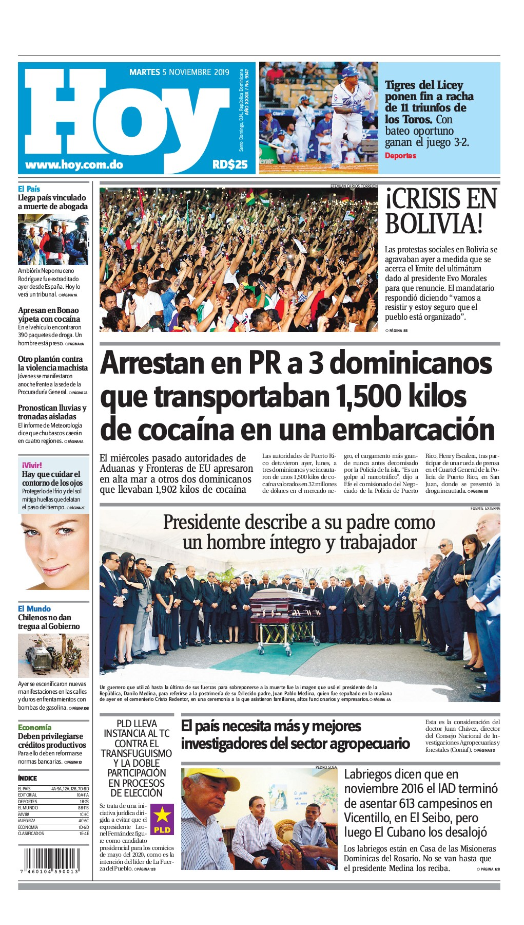 Portada Periódico Hoy, Martes 05 de Noviembre, 2019