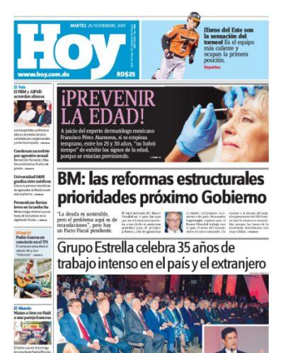 Portada Periódico Hoy, Martes 26 de Noviembre, 2019