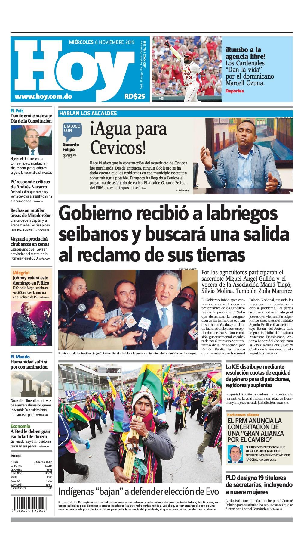 Portada Periódico Hoy, Miércoles 06 de Noviembre, 2019