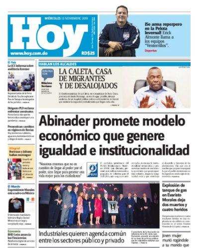 Portada Periódico Hoy, Miércoles 13 de Noviembre, 2019