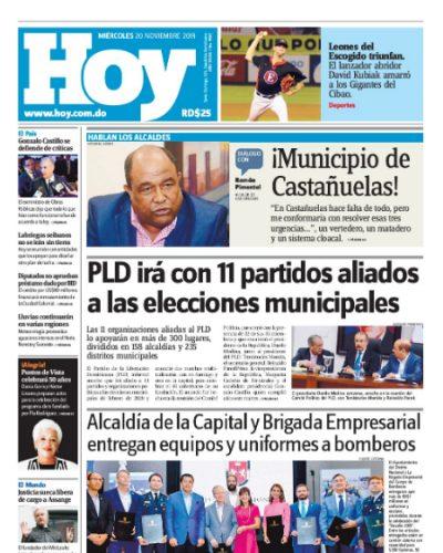 Portada Periódico Hoy, Miércoles 20 de Noviembre, 2019