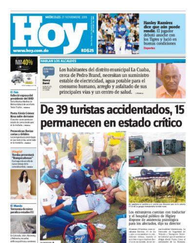 Portada Periódico Hoy, Miércoles 27 de Noviembre, 2019