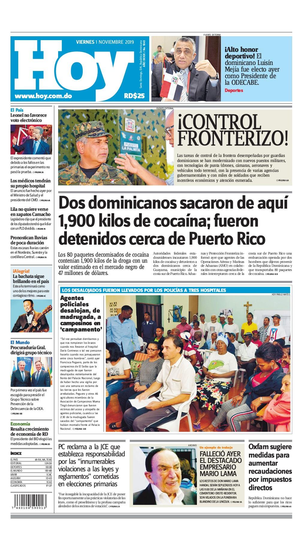Portada Periódico Hoy, Viernes 01 de Noviembre, 2019