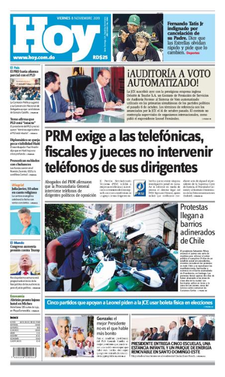 Portada Periódico Hoy, Viernes 08 de Noviembre, 2019
