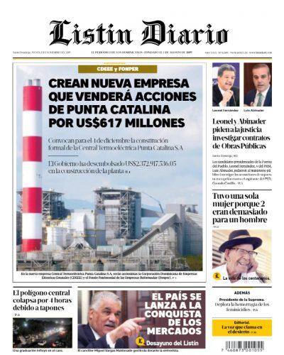 Portada Periódico Listín Diario, Jueves 21 de Noviembre, 2019