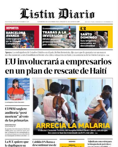 Portada Periódico Listín Diario, Jueves 28 de Noviembre, 2019