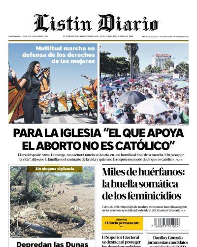 Portada Periódico Listín Diario, Lunes 25 de Noviembre, 2019